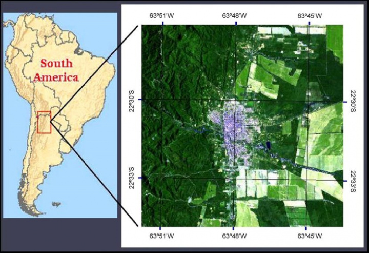 Fig. 1. Geographical location and satellite image from LandSat 5 TM (25th January 2004) of the city of Tartagal